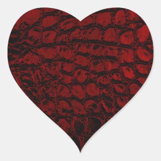 Sticker Cœur Cuir rouge de Faux d'alligator