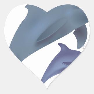 Sticker Cœur dauphins de père Noël