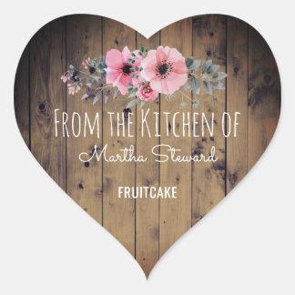 Sticker Cœur De la cuisine du pays en bois rustique nommé chic