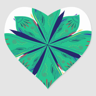 Sticker Cœur Deco vert d'Ethno de mandala