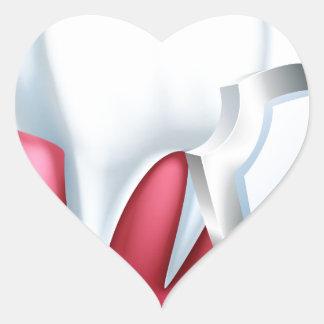 Sticker Cœur Dent et gomme de bouclier