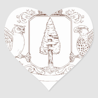 Sticker Cœur Dessin de crête de couronne de séquoia de hibou et