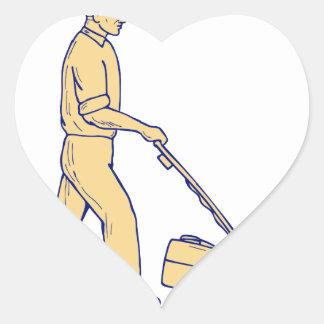 Sticker Cœur Dessin de fauchage de tondeuse à gazon de