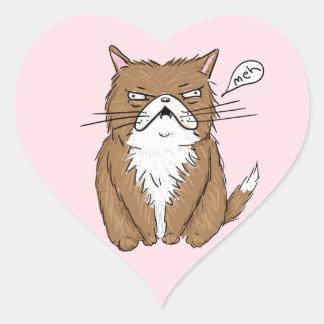 Sticker Cœur Dessin grincheux drôle de chat de Meh