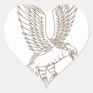 Sticker Cœur Dessin Swooping de balbuzard