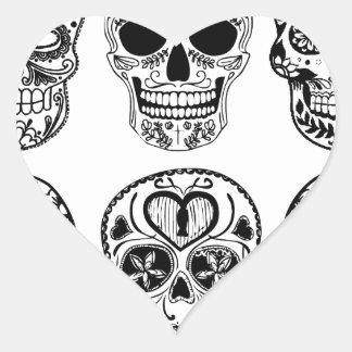 Sticker Cœur Dia de los Muertos Skulls (jour des morts)