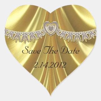 Sticker Cœur Diamant Fleurette et or de satin
