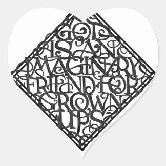 Sticker Cœur Dieu est un ami imaginaire pour développé se lève