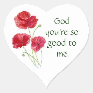 Sticker Cœur Dieu vous m'êtes si bons citation inspirée