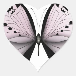 Sticker Cœur Domestique rose de marais de papillon rose