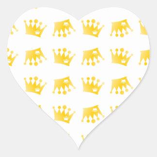 Sticker Cœur Double motif de couronne