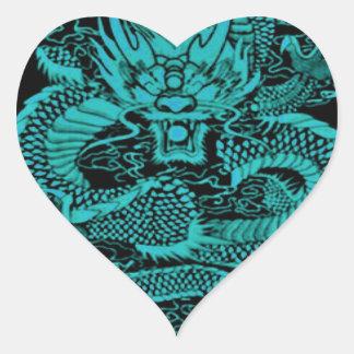Sticker Cœur Dragon épique Teal