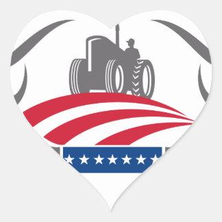 Sticker Cœur Drapeau américain de tracteur de ferme d'Antler