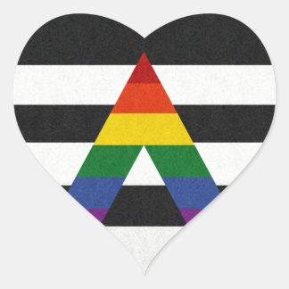 Sticker Cœur Drapeau d'allié de LGBT