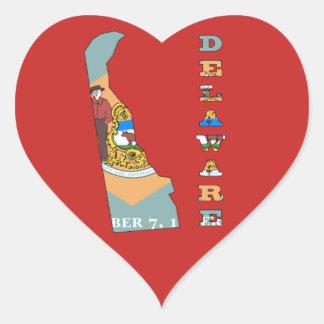 Sticker Cœur Drapeau dans la carte du Delaware