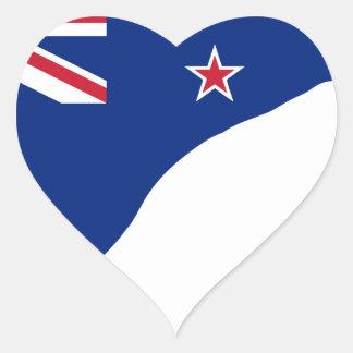 Sticker Cœur Drapeau de la Nouvelle Zélande avec la silhouette