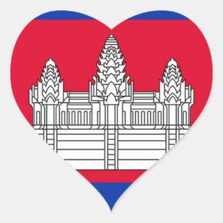 Sticker Cœur Drapeau du Cambodge