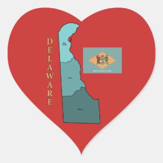 Sticker Cœur Drapeau et carte du Delaware dans l'autocollant de