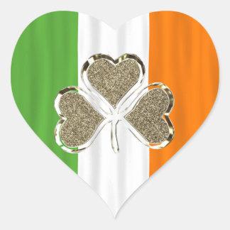 Sticker Cœur Drapeau irlandais Irlande de trèfle d'or de