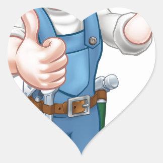 Sticker Cœur Électricien de femme de bande dessinée tenant le