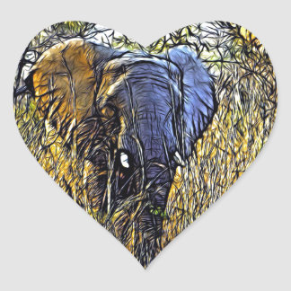 Sticker Cœur Éléphant africain d'art animal sauvage de safari