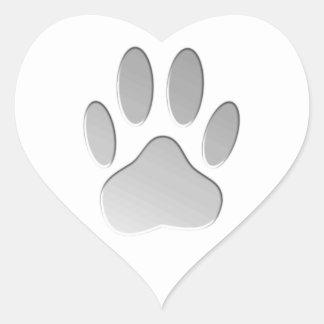 Sticker Cœur Empreinte de patte de chien de Métal-Regard