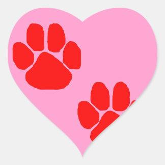 Sticker Cœur Empreintes de pattes