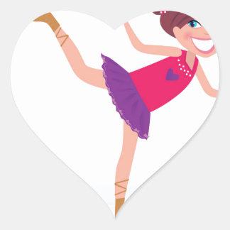 Sticker Cœur Enfant de patinage de glace sur le blanc