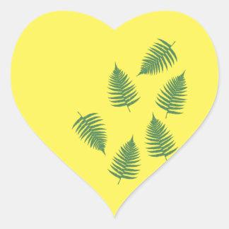 Sticker Cœur Ensemble chanceux de fougère verte d'autocollants