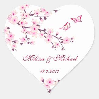 Sticker Cœur Épouser floral de fleurs de cerisier