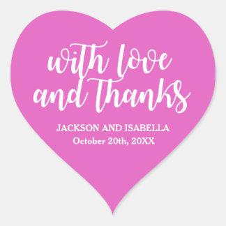 Sticker Cœur Épouser rose au néon chaud d'amour et de mercis