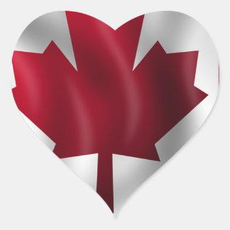 Sticker Cœur Érable canadien de feuille d'emblème de pays de