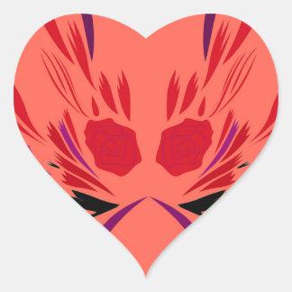 Sticker Cœur Ethno rouge de tatouage de henné