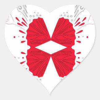 Sticker Cœur Ethno rouge de tatouage de henné sur le blanc