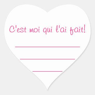 """Sticker Cœur Etiquette confiture rose """"C'est moi ..."""""""