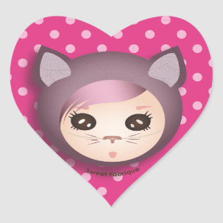 "Sticker Cœur Etiquettes ""Miss Kitty"" - Collection Kiwi Doll"