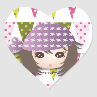 "Sticker Cœur Etiquettes ""Miss Pirate"" - Collection Kiwi Doll"