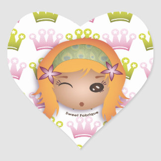 "Sticker Cœur Etiquettes ""Miss Princesse"" - Collection Kiwi Doll"