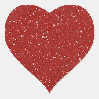 Sticker Cœur Étoiles de parties scintillantes - rouge argenté