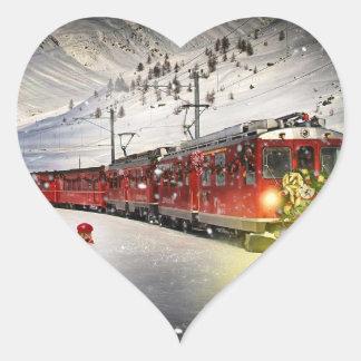 Sticker Cœur Express de Pôle Nord - train de Noël - train de