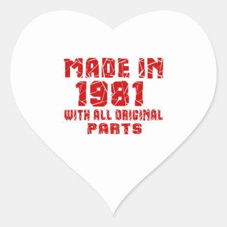 Sticker Cœur Fait en 1981 avec toutes les pièces originales