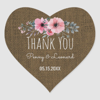 Sticker Cœur Faveur rustique de mariage de toile de jute
