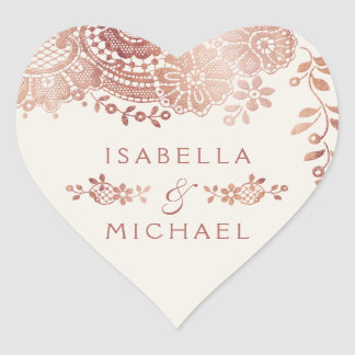 Sticker Cœur Faveur vintage élégante de mariage de dentelle