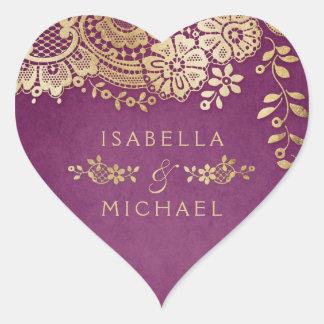 Sticker Cœur Faveur vintage élégante pourpre de mariage de