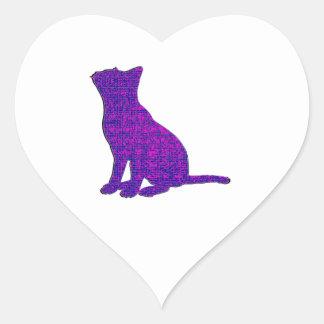 Sticker Cœur Félin de fantaisie