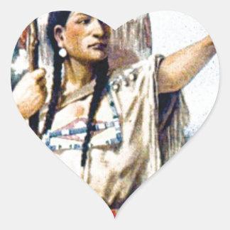 Sticker Cœur femme indienne de squaw