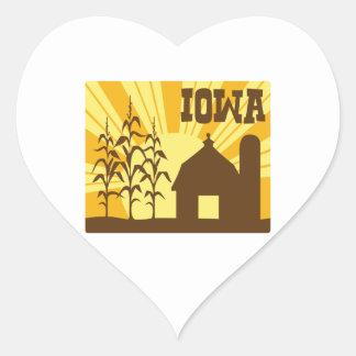Sticker Cœur Ferme de maïs de l'Iowa