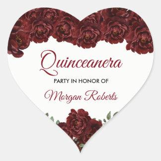 Sticker Cœur Fête d'anniversaire de Quinceanera de rose rouge