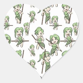 Sticker Cœur filles amazoniennes de chibi