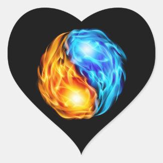 Sticker Cœur Flammes jumelles